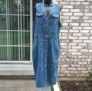 Vintage Bill Blass sleeveless denim midi dress. 16